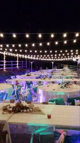 String lights over the reception