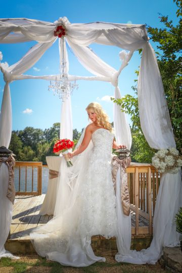 Bride in the wedding cabana