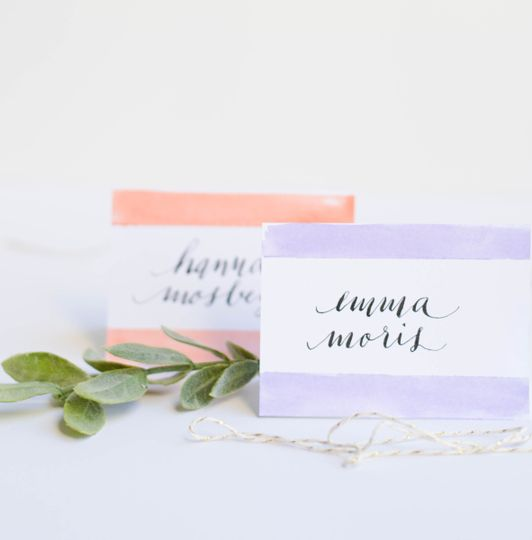 Place cards with watercolor details