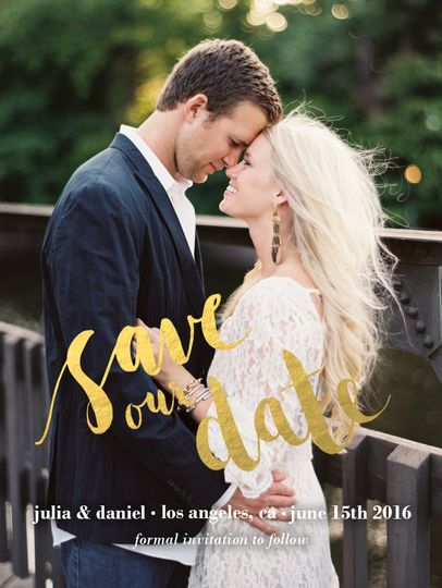 Save-the-date with gold foil detail