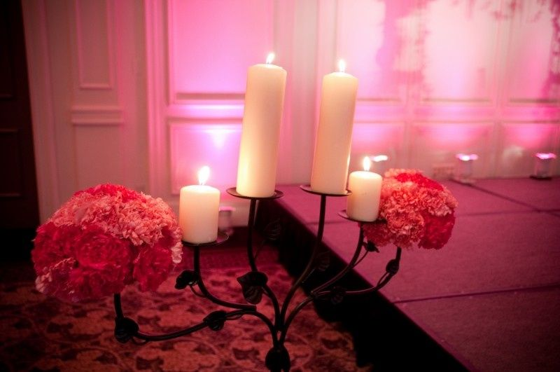 Wedding aisle candlelit and flower decor