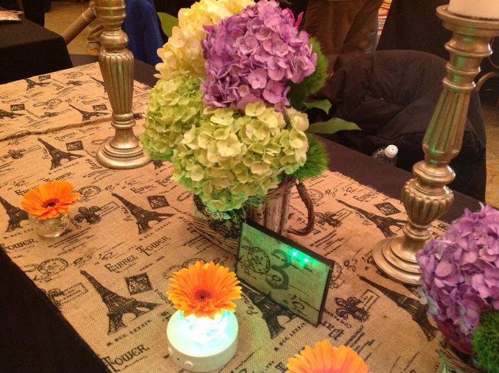 rustic, Parisian, burlap, flowers, hydrangea, daisy, gerbera daisy, candelabra,lighting