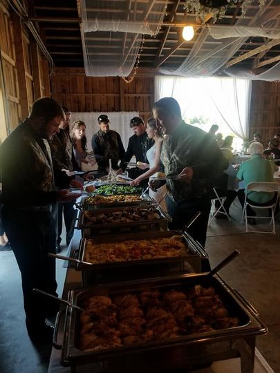 Guests helping themselves to the food