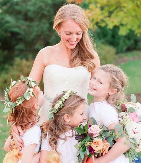 Bride and flowergirls