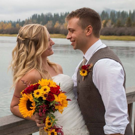 Fall waterfront wedding