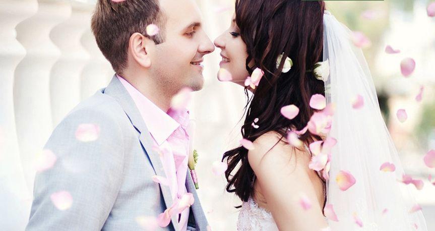 Petals around the bride and groom