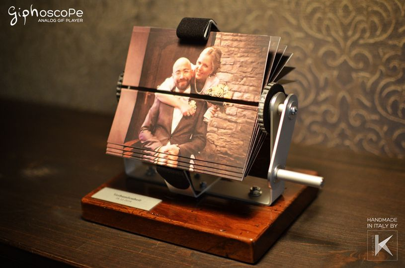 Wedding Giphoscope n. 1, created for a wedding in Germany. Aluminum holding frame with 300 years old...