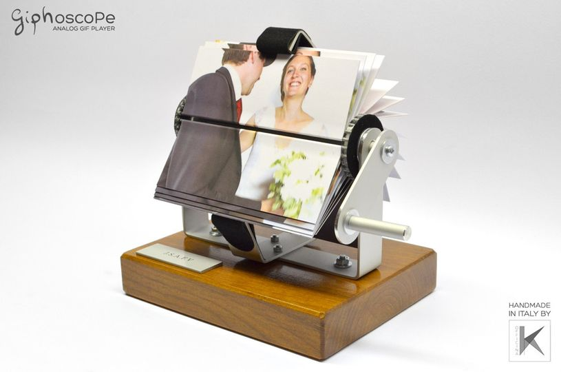 Wedding Giphoscope n. 2, created for a wedding in France. Aluminum holding frame with wooden base....