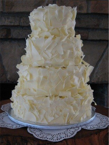 This elegantly simple cake is covered from top to bottom with delicious white chocolate shavings.