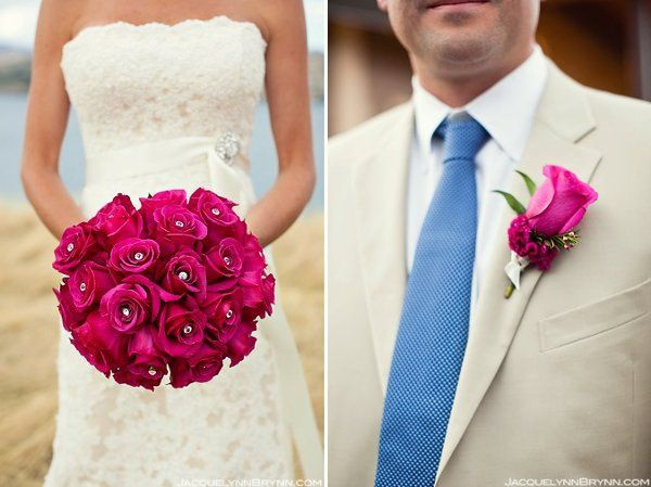 bling bouquet + matching boutonniere
