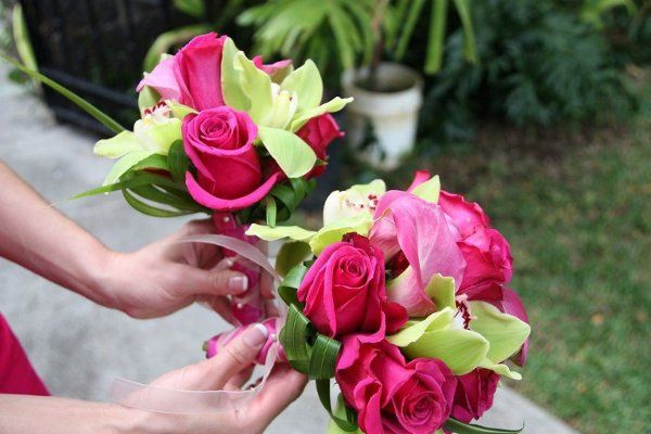 Tmx 1307726428312 Greenorchidhotpinkrosesbridesmaid White Plains wedding florist