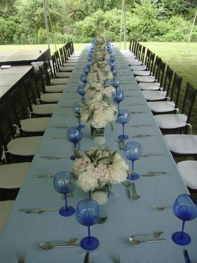 Long table with many centerpieces