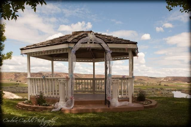 Wedding gazebo over looking valley and river below