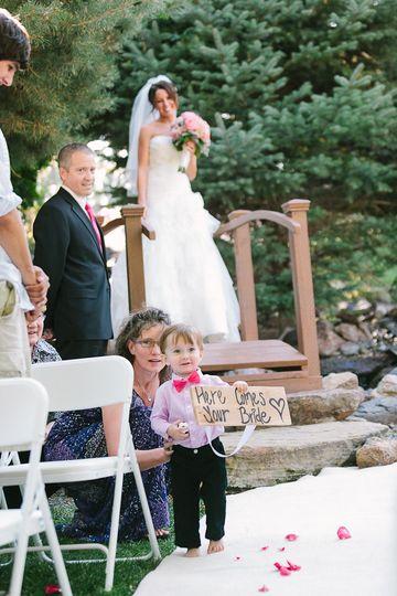 A bride crossing over the wedding bridge