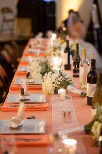 Long orange tables