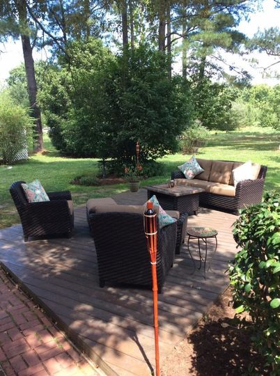 Patio area with fire pit is perfect area for guests