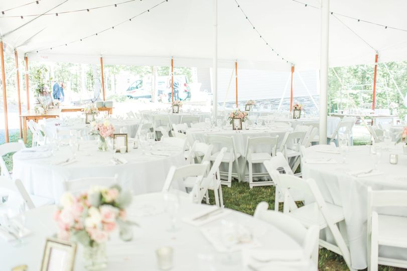 The tented reception area