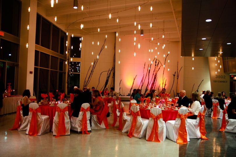 galleria fuschia tropical orange wedding ivy wall