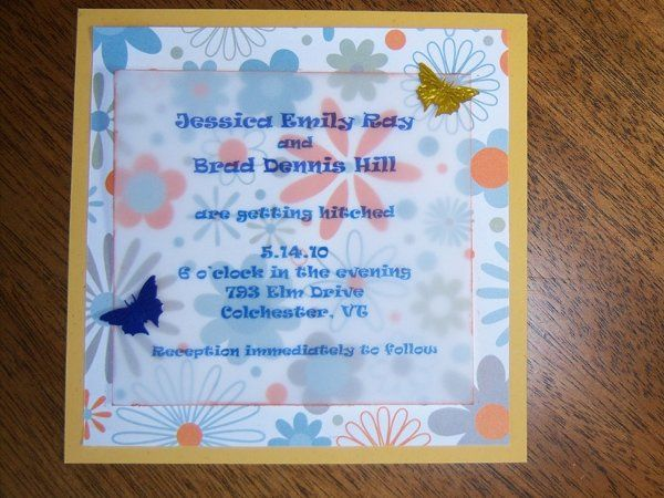 Recycled Cardstock, topped with printed paper, topped with multi colored ink printed vellum, edged...