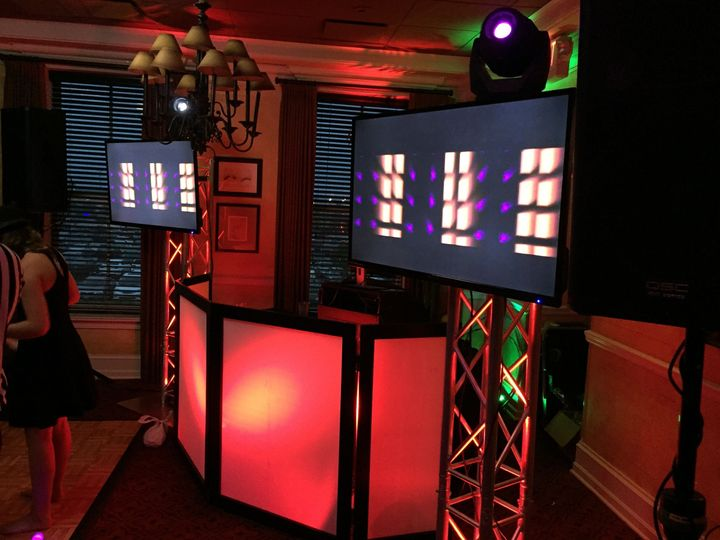 DJ booth with 2 LED TV