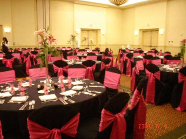 Our Grand National Ballroom can be set according to your wishes.  This particular bride rented black...