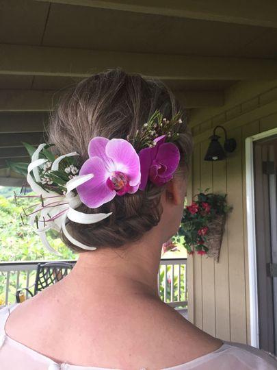 Bridal Hair-low updo, flowers