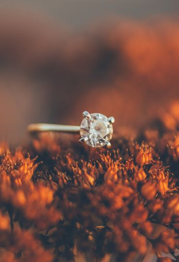 A beautiful solitaire diamond photographed on location at a winter engagement shoot in Spring Lake,...