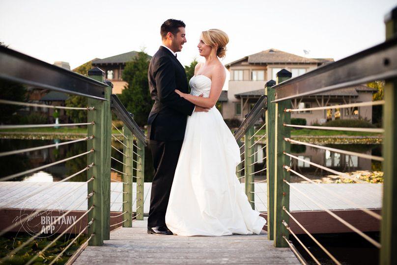 Newlyweds on the bridge