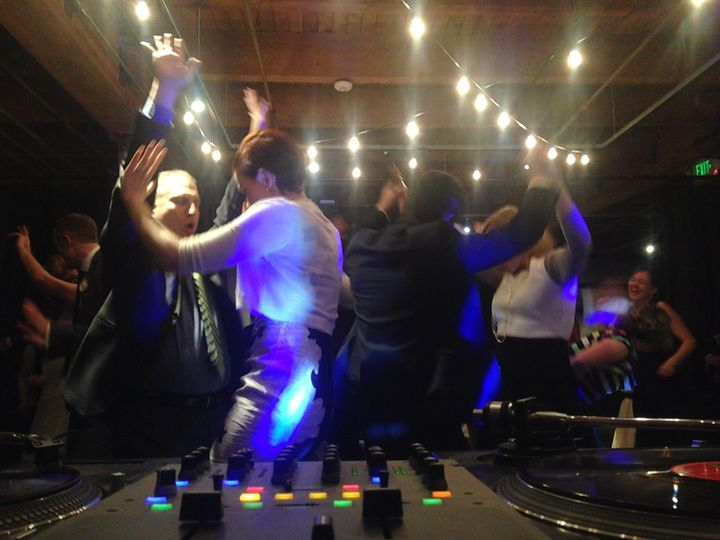 Good people getting down at the wedding reception. Melrose Market Studios. Seattle, WA
