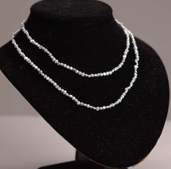 Baby Pearl Necklace - Rice Shaped Grey - 40 inches long
