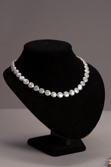 Coin Pearl Necklace - Gray 18 inches Long