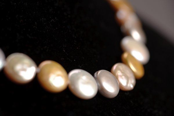 Coin Pearl Necklace - Gray, White, Gold Close up
