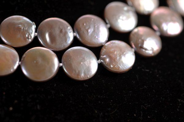 Coin Pearl Necklace - Grey Shown in Double Strand Close Up Also available in White, Gold, Gray,...