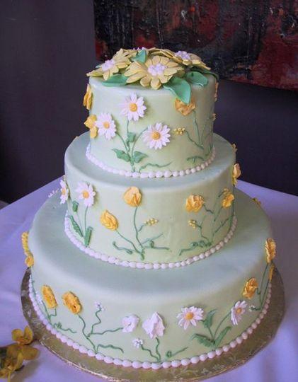 Whimsical springtime daisy cake