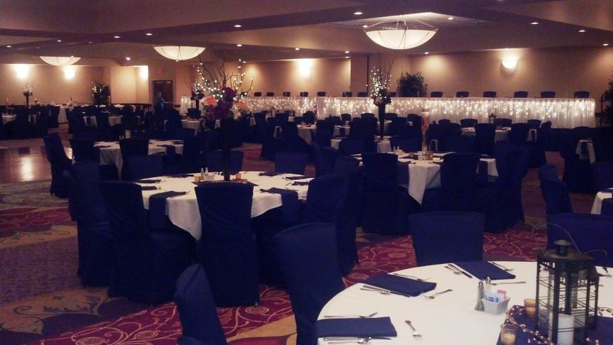 Black chair covers really made this wedding reception elegant yet trendy!