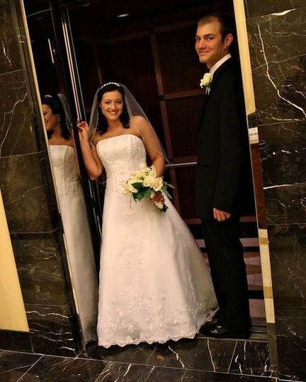This happily married couples exits the Marriott Hotel in Newport News, Va