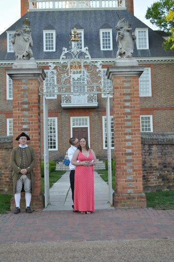 The wedding was performed on the Palace Green in front of the Governors Palace in Williamsburg, Va...
