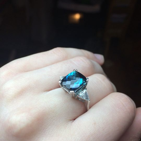Square cute blue stone