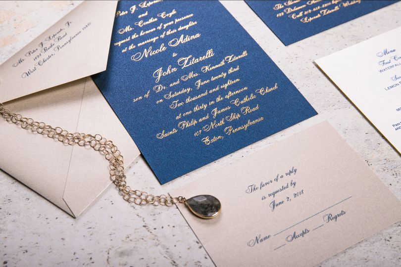 Navy Shimmer with Gold Foil