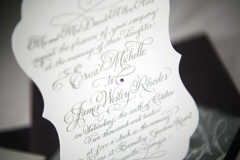 Calligraphy wedding invitation.
