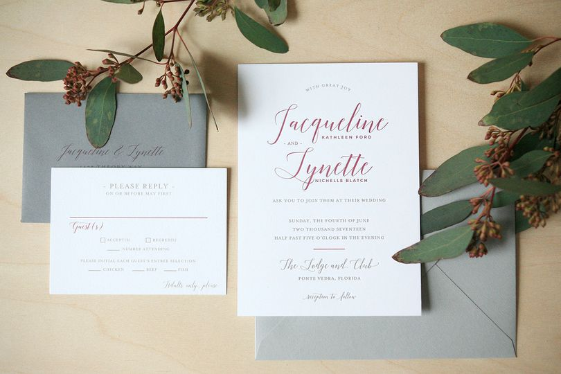 Modern letterpress wedding invitation.