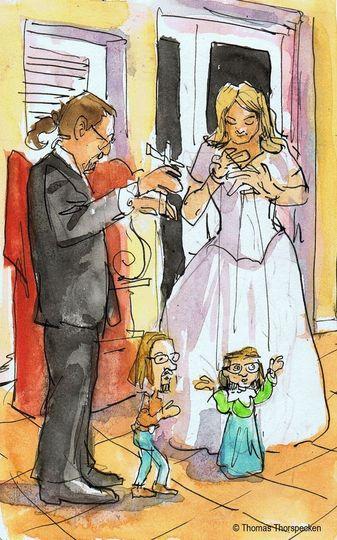 Wedding couple puppetry.