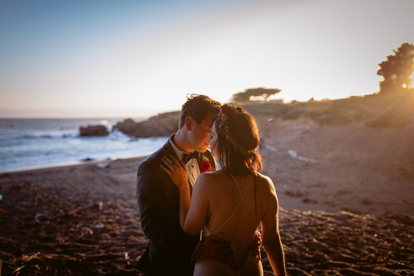 Bride & groom on Moonstone Beach