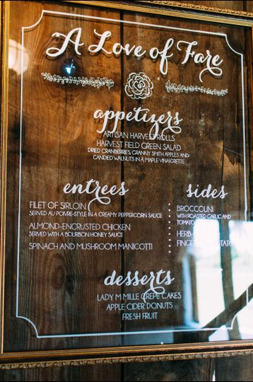 Wedding Reception Signage, dinner menu