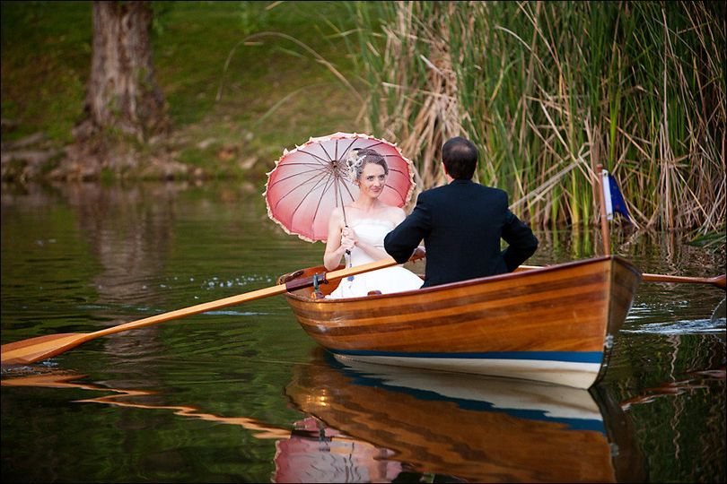 Couple riding a boat