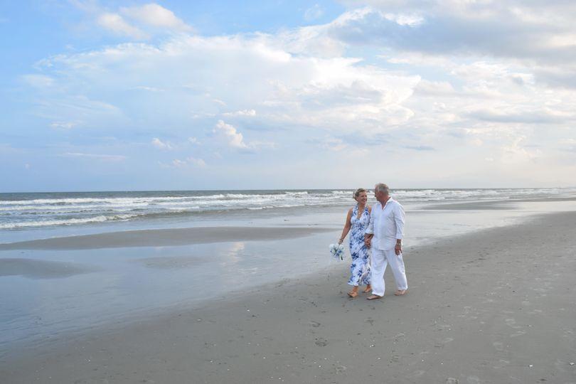 Walking along the shore