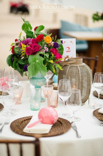 Colorful center pieces for a beach wedding