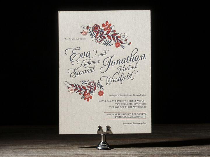 Tmx 1395173996614 Folk Floral Letterpress Sample  Costa Mesa wedding invitation