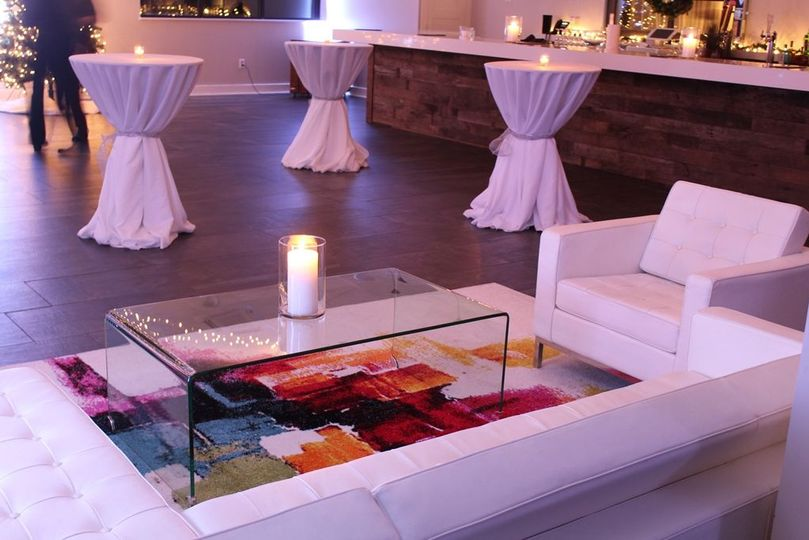 Reception area with candles