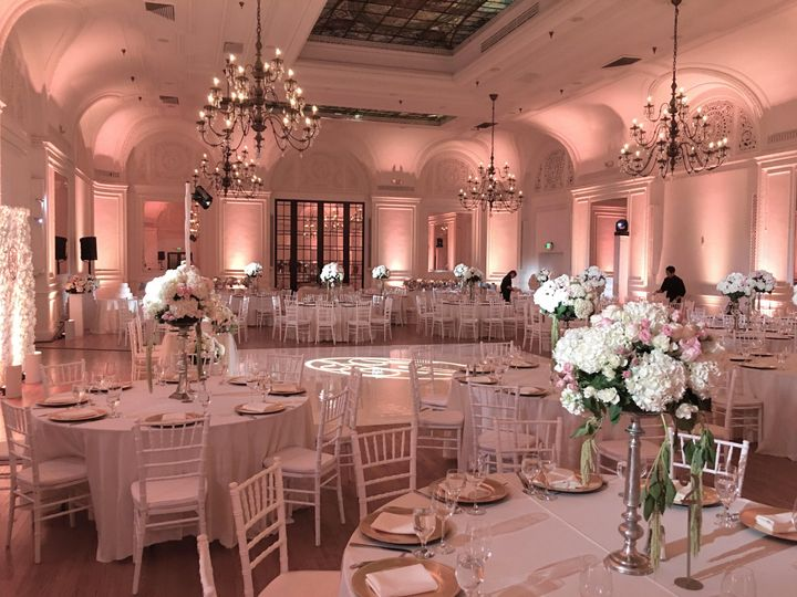 Elegant venue uplighting